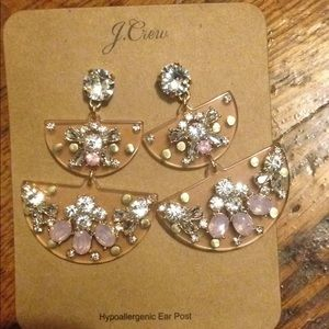 J crew Half Moon Crystal earrings